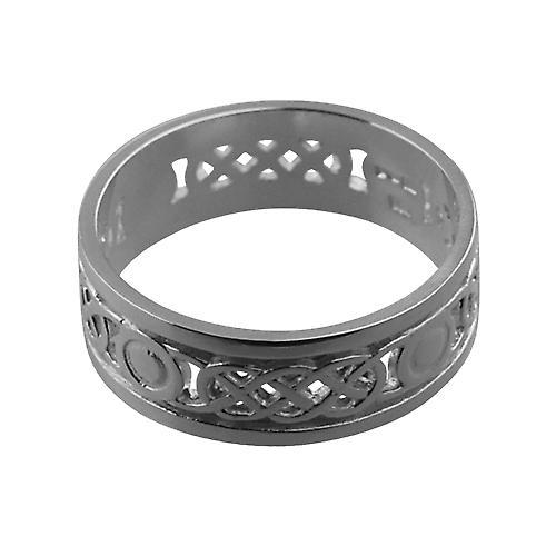 Silver 8mm pierced Celtic Wedding Ring Size W