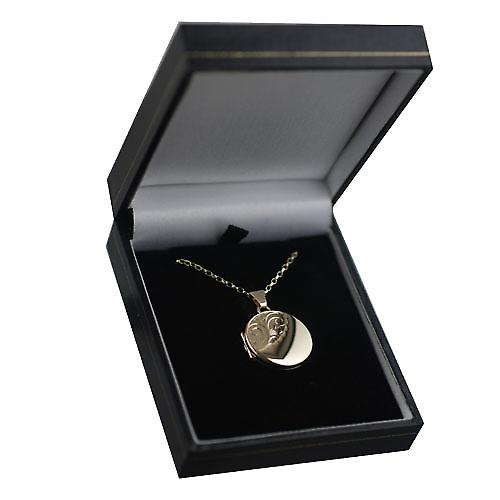 9ct Gold 20mm half hand engraved flat round Locket with a belcher Chain 16 inches Only Suitable for Children