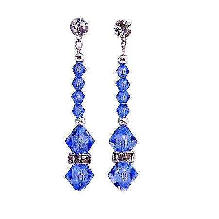 Surgical Post Earrings Lite Sapphire Crystals Silver Beads & Rondells