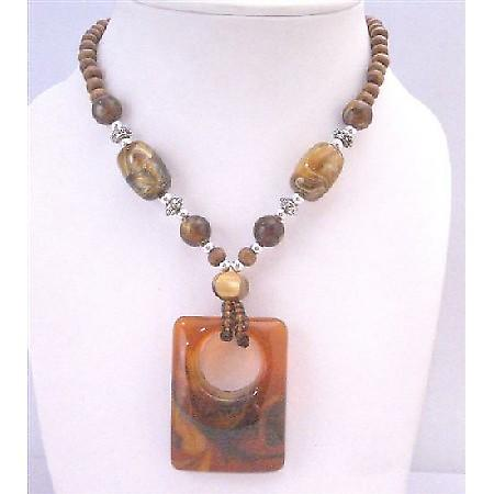 Brown Jasper Jewelry Vintage Square Pendant Wooden Bead Long Necklace
