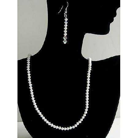 Handmade Swarovski Crystals Jewelry Chalk AB Chalk Necklace & Earrings