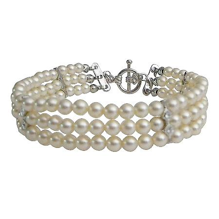 Ivory Pearls Three Stranded Bracelet Tiny Pearls Wedding Bracelet