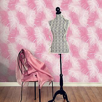 Feather Wallpaper Quill moderne Glitter Effect textuur Vinyl roze wit Coloroll
