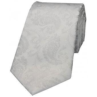 David Van Hagen luxo Paisley gravata de seda - prata