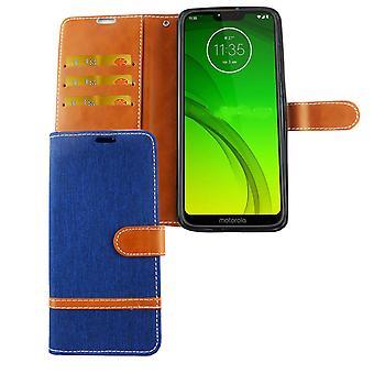 Motorola Moto G7 celular caso saco protetor capa case bolsa carteira titular do cartão azul
