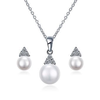 925 Sterling Silver Triangle Pearl Jewellery Set