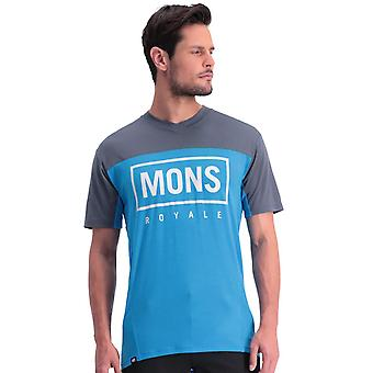 Mons Royale Charcoal-Downhill Blue Redwood Enduro VT Short Sleeved MTB Jersey