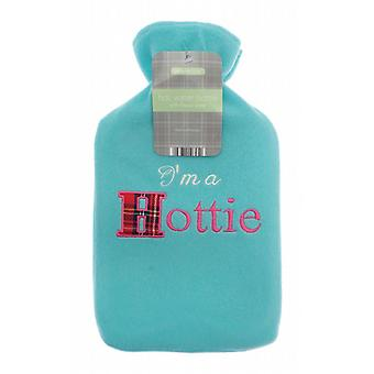 Applique Fleece Mint 2L Hot Water Bottle: I'm a Hottie