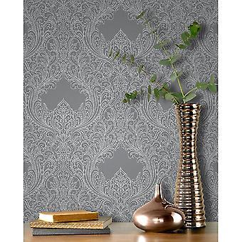 Rasch Damast Muster Tapete Floral Blatt Motiv geprägt Metallic Glitter 308501