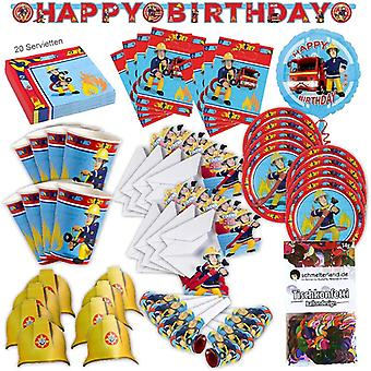 Fireman Sam party set XL 79-teilig for 8 guests fireman Sam decoration party package