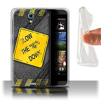 STUFF4 Gel/TPU Case/Cover for HTC Desire 820 Mini/Slow Down/Funny Road Signs