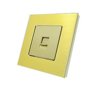 I LumoS Luxury Gold Brushed Aluminium BT RJ11 Telephone Wall Single Socket