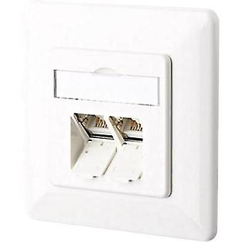 Network outlet Flush mount Insert with main panel and frame CAT 6A 2 ports Metz Connect 130C381002-I Pure white