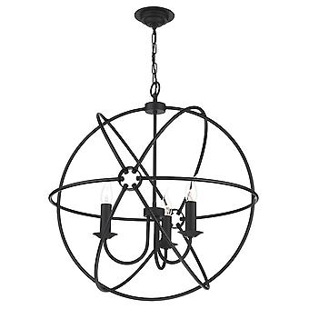 Orb Traditional 3 Light Pendant With A Black Finish