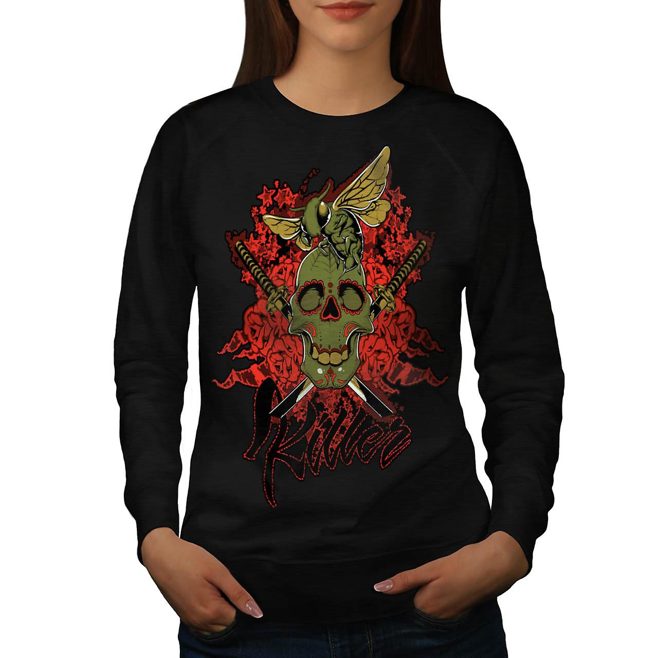 Killer Rose Bug Skull Women Black Sweatshirt | Wellcoda