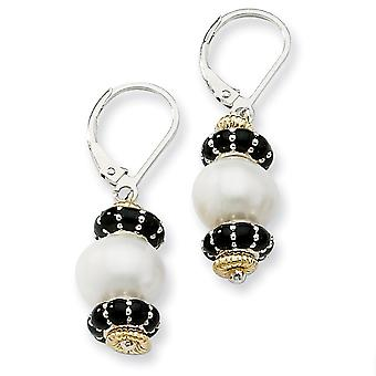 Sterling Silver With 14k 9.5mm Freshwater Cultured Cult Pearl and Enameled Bead Earrings