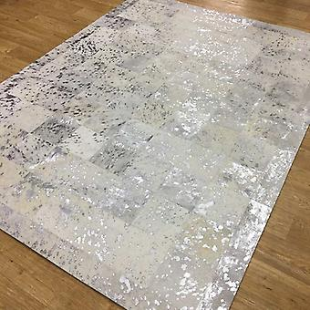 Rugs - Patchwork Leather Cubed Cowhide - White & Silver Acid