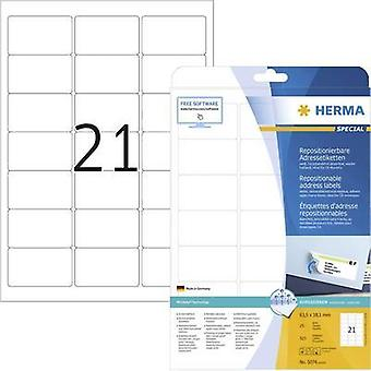 Herma 5074 Labels (A4) 63.5 x 38.1 mm Paper White 525 pc(s) Removable All-purpose labels, Address labels Inkjet, Laser,