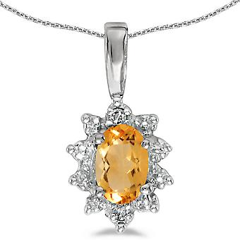 14k White Gold Oval Citrine And Diamond Pendant with 18