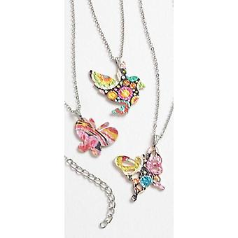 Zinc Alloy painted Butterfly pendant on a metal chain necklace 16'+chain