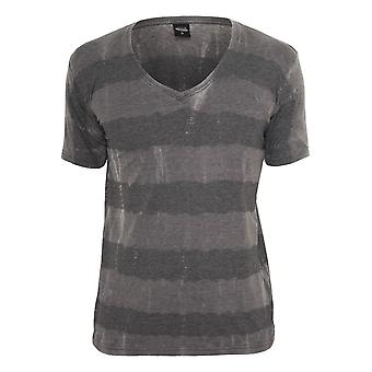Urban classics fantasy stripe Burnout V-neck tee
