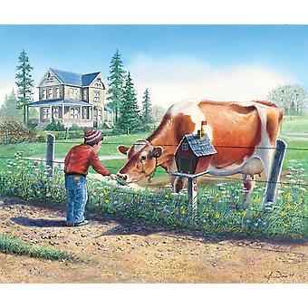 Nye venner - ko og barn plakat Print af John Bindon