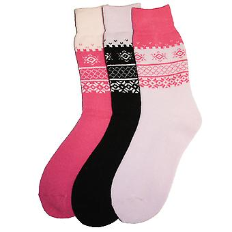 New Ladies SHORT Fairisle Design Warm Thermal Winter boot Socks 4-8 3pk