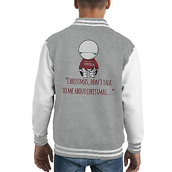 Christmas Marvin The Paranoid Android Hitchhikers Guide To The Galaxy Kid's Varsity Jacket