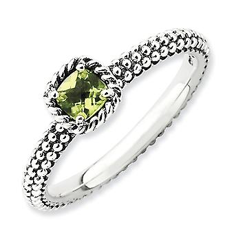 2.5mm Sterling Silver Stackable Expressions Checker-cut Peridot Antiqued Ring - Ring Size: 5 to 10