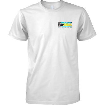 Efecto de bandera de Bahamas Grunge país nombre - niños pecho diseño camiseta
