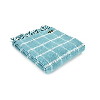 Tweedmill Pure New Wool Chequered Check Throw - Spearmint
