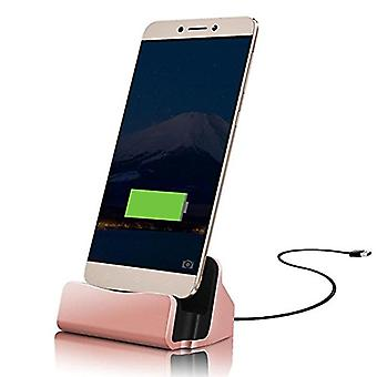 ONX3 (Rose Gold) Desktop Charger USB Micro-USB Base Stand Data Sync Charging Docking Station For Oppo R11 Plus