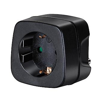 Brennenstuhl travel adapter, EU to India, grounded, safety cover, black