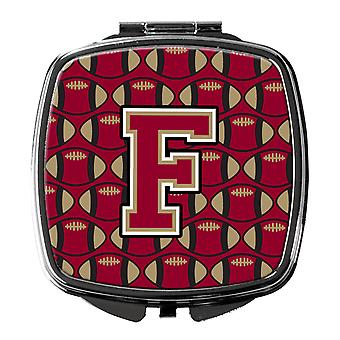 Letter F Football Garnet and Gold Compact Mirror