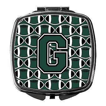 Letter G Football Green and White Compact Mirror