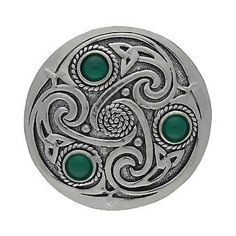 Handmade Celtic Triskele 3 Green Onyx Gemstones Pewter Brooch