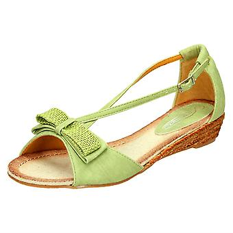 Ladies Spot On Cross Strap Sandal With Bow Detail