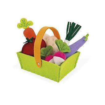 Janod tyg vegetabiliska korg med 8 grönsaker