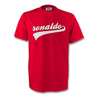 Cristiano Ronaldo homem Utd assinatura Tee (vermelho) - crianças