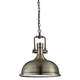 Searchlight 1322AB Industrial Pendant Ceiling Light In Antique Brass