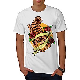 Тигр мужчин WhiteT рубашки   Wellcoda