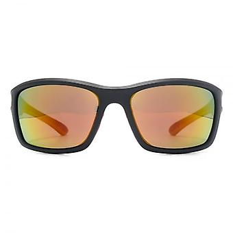 Freedom Polarised Hudson Square Wrap Sunglasses In Matte Black Red