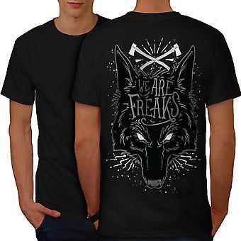Wolf Freak mannen gekleedinzwartet-shirt terug | Wellcoda
