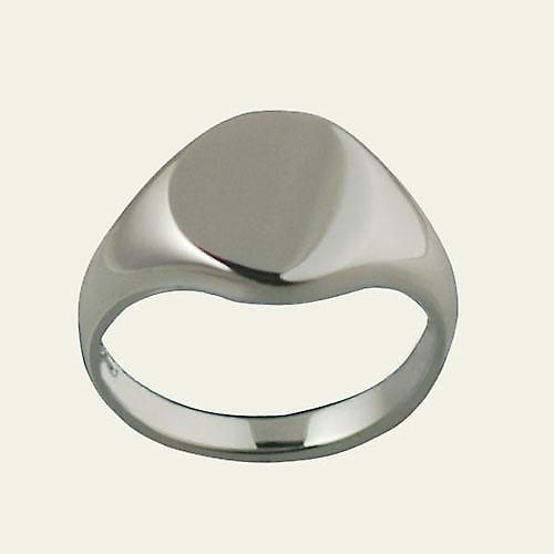 Silver 12x9mm solid plain oval Signet Ring Size S