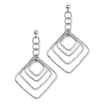 925 Sterling Silver Polished Textured Square Dangle Earrings