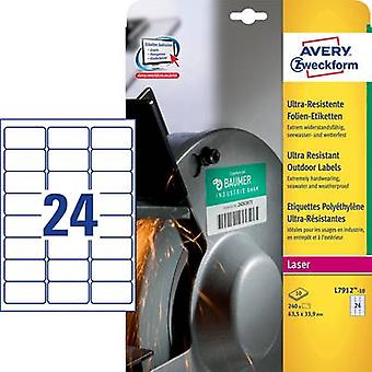 Avery-Zweckform L7912-10 Labels (A4) 63.5 x 33.9 mm PE film White 240 pc(s) Permanent All-purpose labels
