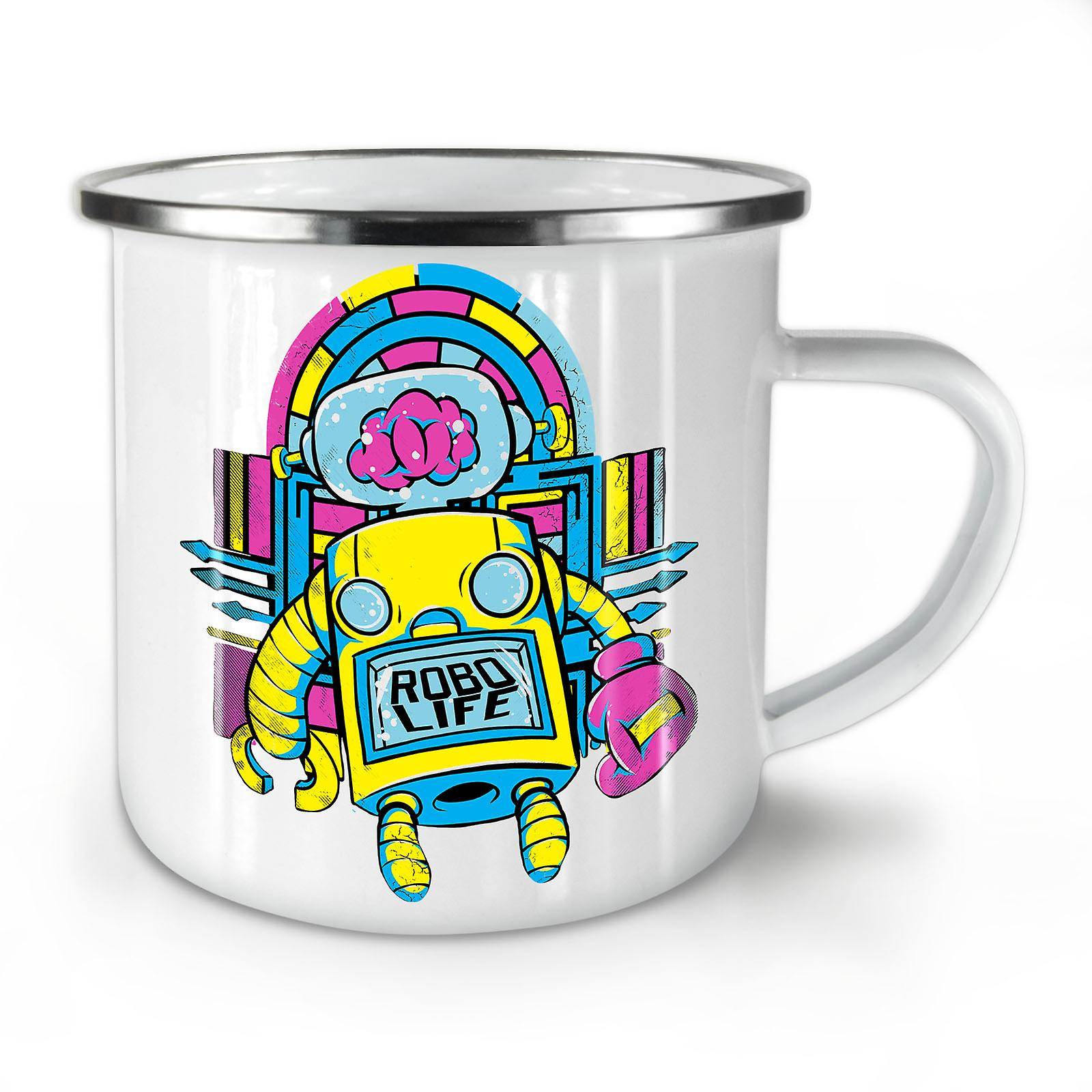 Coffee Life Retro Robo Enamel OzWellcoda Whitetea Geek Mug10 New VLqUGzSMp