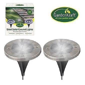 GardenKraft 2 Pack Stainless Steel Round Solar Ground LED Lights Garden Path Patio