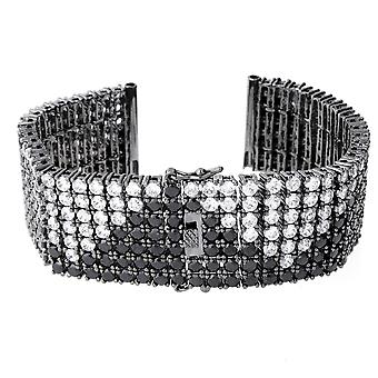 Iced out BLING horloges armband - 6 rij ZIG ZAG