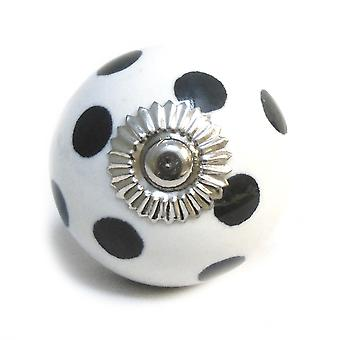 White / Black Spots Ceramic Cupboard Knob